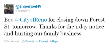 Tweet to City of Reno