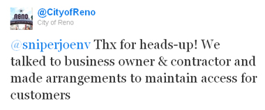 Tweet from City of Reno